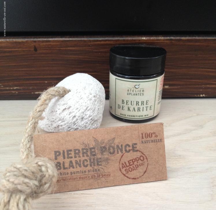 beurre de karité et pierre ponce