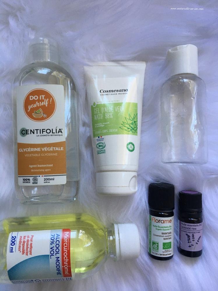 ingrédients DIY gel hydroalcoolique
